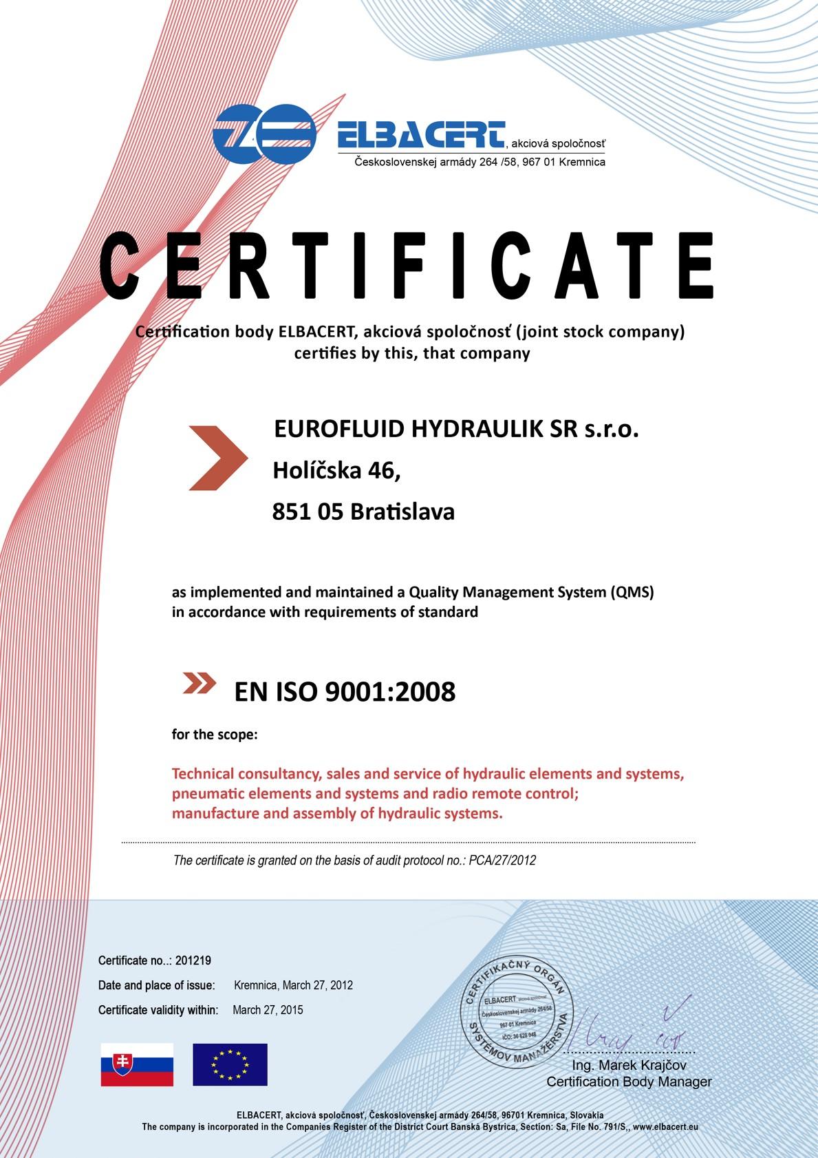 Certifikát ISO 9001