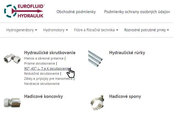Výber kategórie na eshop.eurofluid.sk