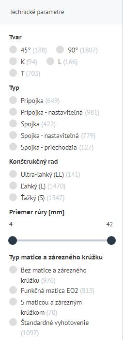 Parametre na eshop.eurofluid.sk